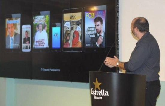 En Germà Capdevila parlant dels nous projecte d'Esguard Publicacions: ull.cat, FCBMag i A1K.