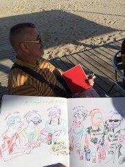 El mestre Lluïsot no va parar de dibuixar. Aquí, el retrat d'un quants amics que preníem alguna cosa a una guingueta de Vilanova.